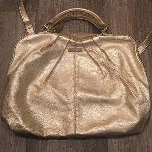 kate spade gold leather large crossbody bag